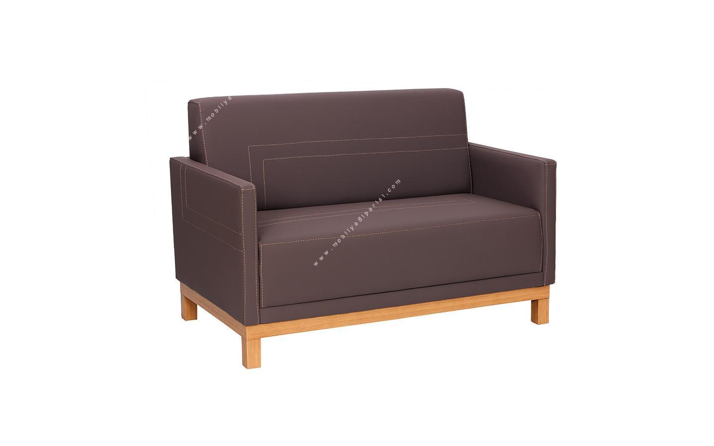 look ahşap ayaklı ikili ofis kanepesi