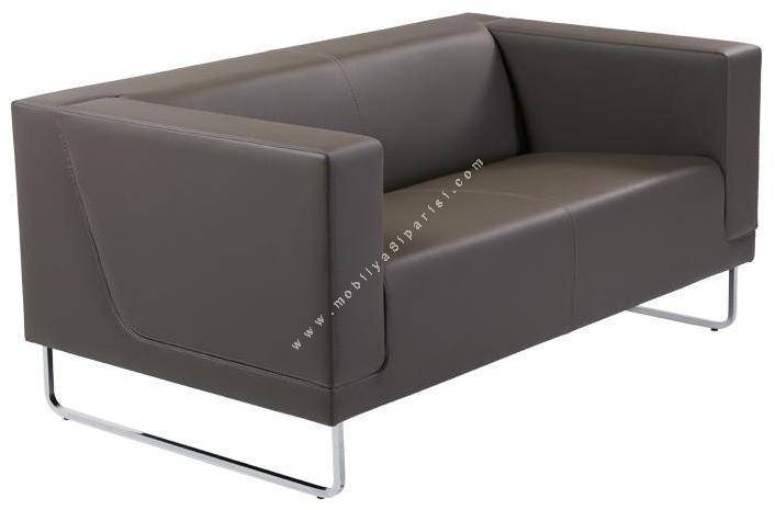 louren metal ayaklı ikili ofis kanepesi