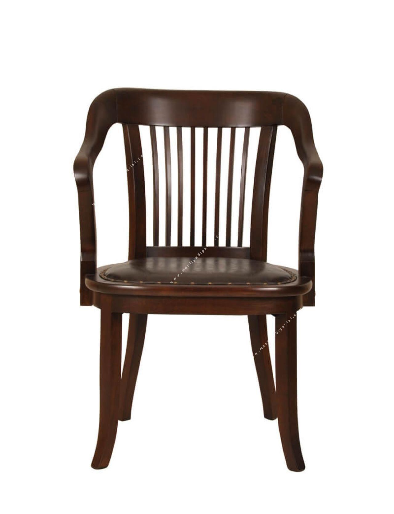 vintage dört ayaklı ahşap misafir koltuğu